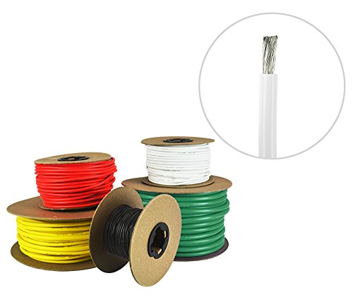 8 AWG Marine Wire - Tinned Copper Primary/Battery Boat Cable - 25 Feet - White - Made in The USA