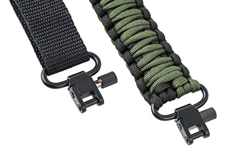 Rifle Sling 550 Paracord - 2 Point - Survival Hunting Shooting - Extra Strong Multi Use (Black Army Green)