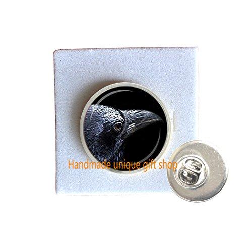 Handmade unique gift shop Dainty Brooch, Simple Brooch,Raven Brooch Black Raven Brooch Bird Jewelry Bird Lover Gift Black Gray Silver Brooch-RC093 (B)
