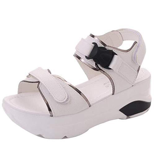 Plateforme Semelles À Noir Uk Qiusa Femmes Compensées 2 Sandales Pour Velcro coloré Taille Blanc En qCZEf