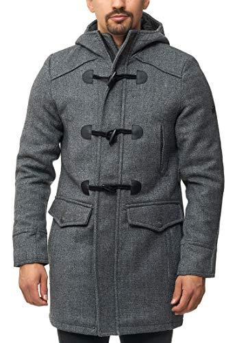 Indicode Uomo Liam Montgomery con Colletto Alto E Cappuccio | Moderno Cappotto di Lana con 5 Borse Caldo Cappotto Invernale Imbottito Cappotto Uomo Inverno Giacca Cappotto per Uomo