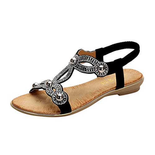 (Respctful✿Summer Sandals for Women Rhinestone Flats Platform Wedges Ladies Beach Summer Shoes Black)