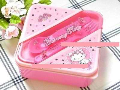 Sanrio Charmmy Kitty Lunch Box Bento Container with Spoon + Fork (Charmmy Sanrio Kitty)