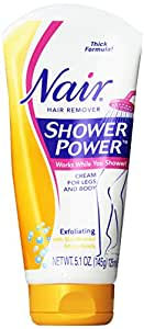 Shower Power Exfoliating Hair Remover Exfoliating Body Cream by Nair, 5.1 Ounce