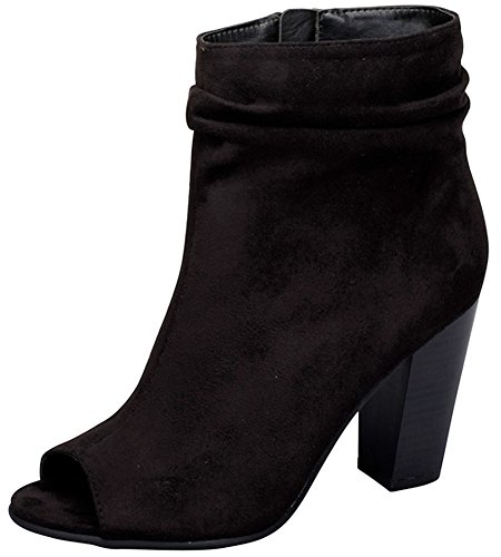 Breckelle's Women's Slouchy Stacked Chunky Heel Peep Toe Bootie