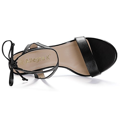 Allegra Sandali Ritagliata Nero Punta Donne 7 Stiletto US Caviglia Aperta Lati Cravatta K rTrCqgB