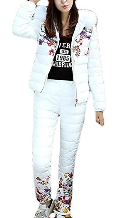 Stampa Moda Coat Down Con Warm Donna Pants Manica Set Puffer Cerniera Lunga Xqs BYwAqx5Bz