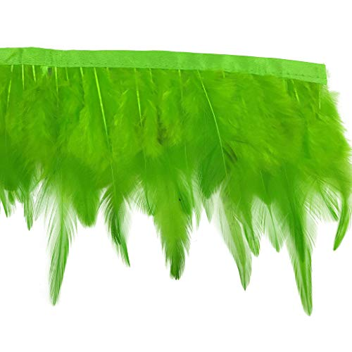 (Shekyeon 2yards Rooster Hackle Feather Trim Dress Decoration(lime)