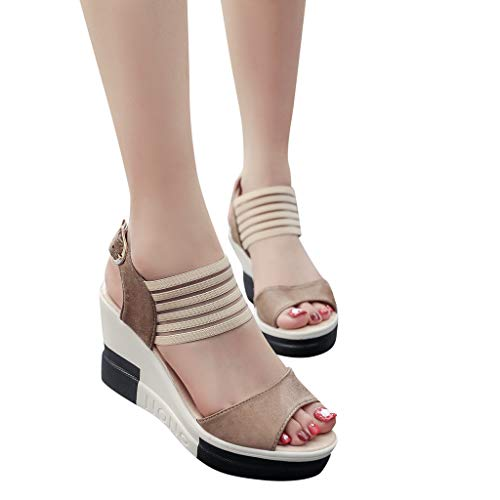 Outtop(TM) Women Casual Wedge Sandals Ladies Summer Comfortable Belt Buckle Fish Mouth High Heel Shoes Sandals (US:7.5, Brown)