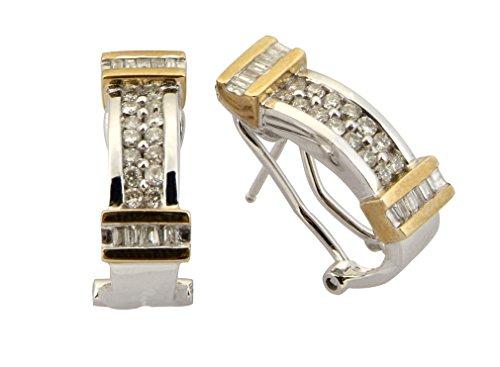 Or 9ct, Fancy 0,70Cts-Diamant Demi Créoles Clous d'Oreille avec clips Peg & Omega