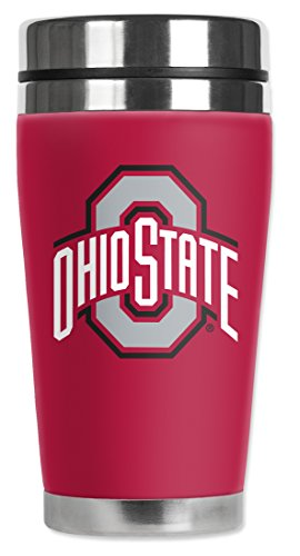 Mugzie Ohio State Buckeyes Travel Mug with Insulated Wetsuit Cover, 16 oz, Red