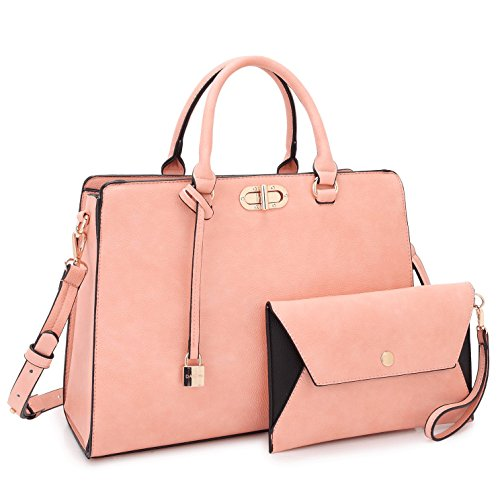 Women Designer Handbags and Purses Ladies Shoulder Bag Hobo Bag Top Handle Satchel Tote Work Bag with Wallet Wristlet (7581 Pink)