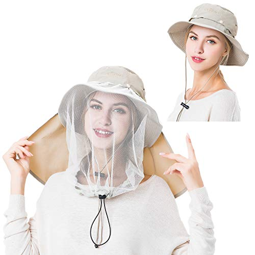 Palmyth Mosquito Head Net Hat Safari Hiking Fishing Hats Sun Protection Water Repellent Bucket Boonie Hats with Removable Neck Flap Hidden Net UV UPF 50+ from Bug Insect for Men Women Outdoor (Khaki)