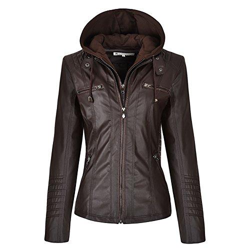 Pop lover Women's Hooded Faux Leather Motorcyle Jacket Detachable Full Zipper Outerwear Dark Brown XS (Dark Brown Hooded Jacket)
