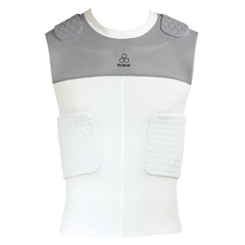 McDavid Classic Logo 7870 CL HexPad Mesh 5 Pad Body Shirt-White/Gray Large (Mcdavid Hexpad Body Shirt)