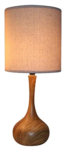 nu steel LS-372 Dark Wood Texture Table Lamp 11in Base with Linen Shade, (Wood Contemporary Table Lamp)