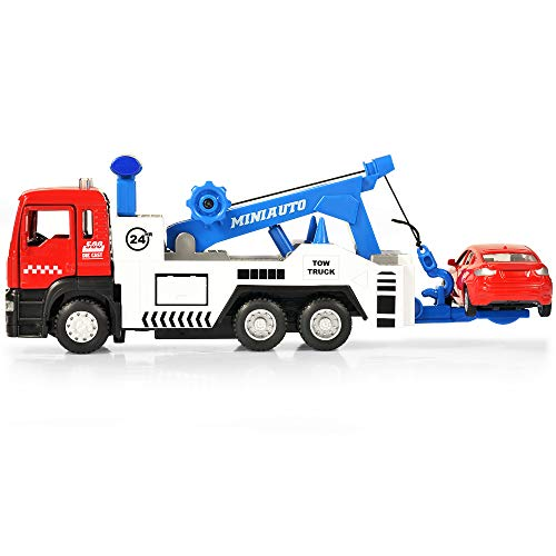 SASBSC Micro Toy Tow Truck with Hook and Pull Back Cars