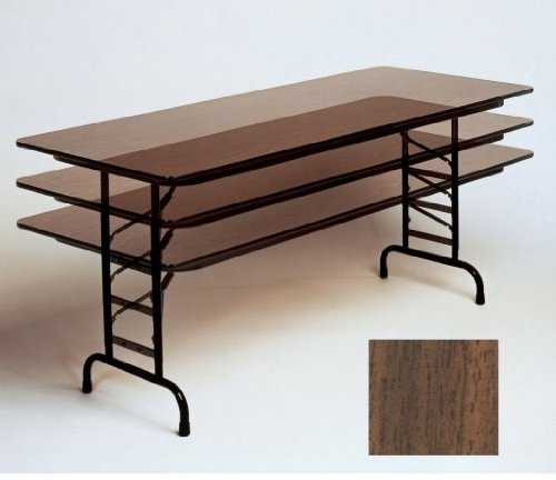 Correll CFA2448M 01 Melamine Adjustable Height Top Folding Table, Rectangular, 24'' Width x 48'' Length x 22'' to 32'' Height, Walnut by Correll