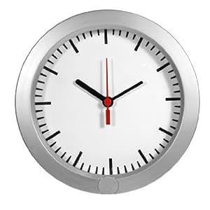 Technaxx 4219 - Reloj de pared con cámara y micrófono integrado (batería recargable por USB, ranura para tarjeta SD, indicador LED) plata