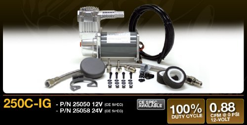 VIAIR 250C IG Series Compressor Kit 24V, CE, Intercooler Head, 100% Duty, Sealed