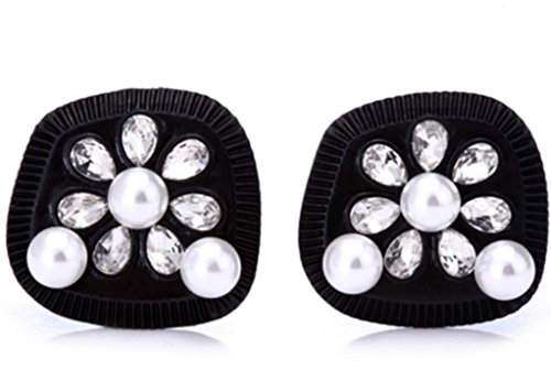 Earrings, Audrey Hepburn Breakfast at Tiffany's, Black with Pearls, - Crystal Audrey