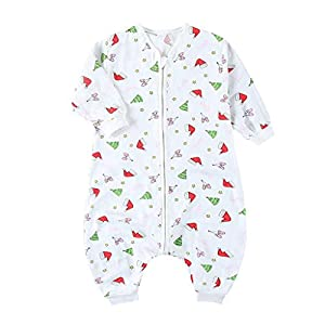 Baby Early Walker Sleeping Bag with Feet Toddler Blankets Infant Pajamas 1.5 Tog (Christmas Hat, 80cm)