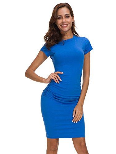 Femme Robe Missufe Robe Bleu Ruch Fourrea Casual Bodycon t q4wTxdwYC