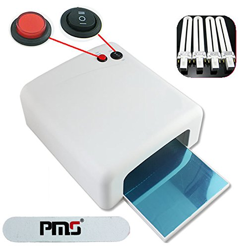 PMS® 36Watt UV Lampe Lichthärtungsgerät Nail Gel Nagel-Trocknerv 120 Sekunden Mit Timer + 4 Röhren Weiß