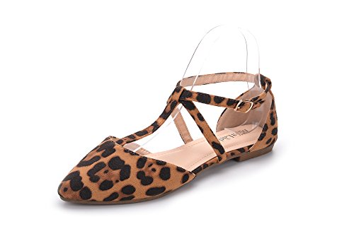 Mila Lady Laurel Womens Pointed Toe Ankle Strap T-Strap D'Orsay Dress Flats Shoes,Leopard 7.5]()