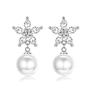 Kesaplan Pearl and Crystal Drop Earrings Crystal Flower Dangle Earrings Light Ivory Pearl Drop Vintage Wedding Earrings…