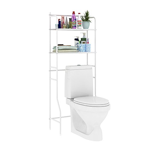 HOME BI Over The Toilet Storage Bathroom Spacesaver, Free Standing Metal Bathroom Shelf Storage Shelf Unit, Anti-Rust,White B