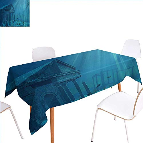 familytaste Ocean Printed Tablecloth Sun Rays Over Ruins of A Former Civilization Deep Sea Atlantis World Nautical Picture Print Rectangle Tablecloth 70
