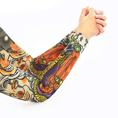 Sunscreen Sleeves 1 Pair Skin Protect Nylon Stretchy Fake Tattoo Sleeves Arm Stockings Design Body Cool Men Unisex Fashion Arm Warmer Ph5004