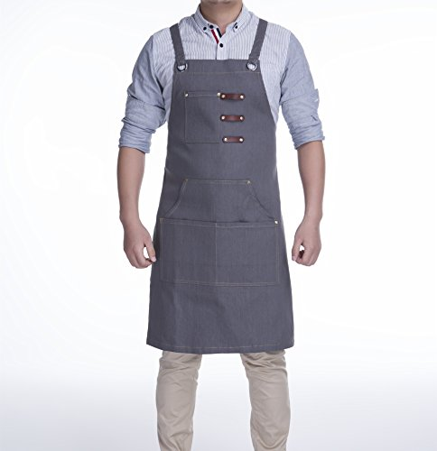 KSMYZX - Durable heavy duty multi-pocket apron with tool storage pocket S-XXL full-size cross strap for all environments, versatile and large storage spaces (Gray denim)