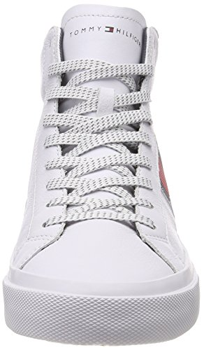 White Sneaker Baskets Detail Flag Leather Hilfiger 100 Homme Hautes Tommy High Blanc qwfXvRFxga