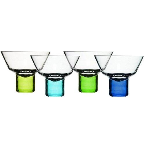 Sagaform 5015925 Hand-blown Martini Glass, Blue/Green, Set of 4