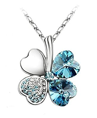 Habors 18K White Gold Plated Ocean Blue Austrian Crystal Clover Leaf Pendant Women's Pendants at amazon