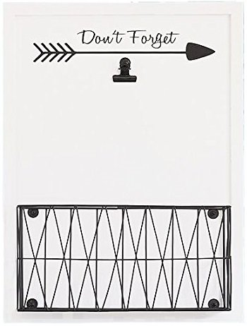 Blu Monaco Rustic Farmhouse Wall Mounted Mail Holder - Note Clip for Storage - White Wooden with Iron Black Metal Basket - for Office, Kitchen, Entryway by Blu Monaco