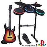wired ps2 guitar - Guitar Hero World Tour Video Game Bundle w/Wireless Guitar, Wireless Drum Kit & Wired Microphone for PlayStation 2