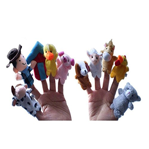 Lanlan 10 Pcs Lovely Soft Velvet (Forest Farm Animal) Finger Puppets Old Macdonald Had A Farm Story Time Stuffed Animals Plush Toys For Kids Novelty Gag Toys