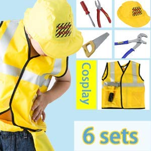 Ashnna Construction Worker Costume, Role Play Kit Set,