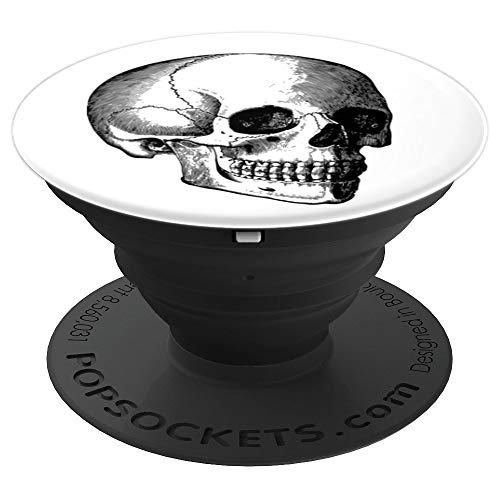 Skull with Teeth Facing Right Creepy Halloween - PopSockets Grip and Stand for Phones and -