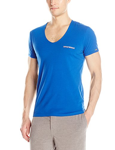 Emporio Armani Men's Italian Flag Stretch Cotton V-Neck Lounge Top, China Blue, Medium
