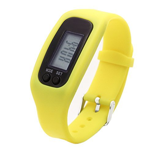 Fitness Tracker Watch, Simply Operation Walking Running Pedometer with calorie burning and steps counting by Bomxy (Yellow)