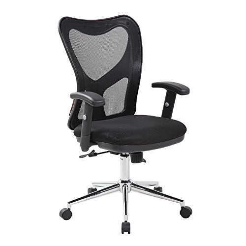 High Back Mesh Office Chair With Chrome Base. Color: Black -