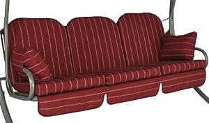 Angerer Deluxe Faro - Cojín para banco de estilo balancín, 3 asientos, color rojo