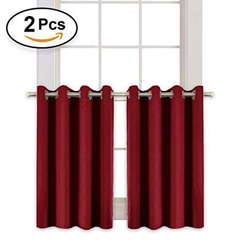 RYB HOME Kitchen Window Blackout Curtain Tier Heavy Duty Thermal Insulated Versatile Blackout Valances for Dinning Room/Girl's Room, 52 x 36 in Each Panel, Burgundy Red, Double (Red Window Treatment)