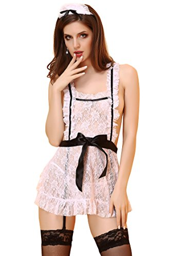 OIZEN Sexy Lace Maid Cosplay Costume Sheer Teddy Babydoll Sleepdress with G-String, Hairband & Garter (Womens Sexy French Maid Costume)