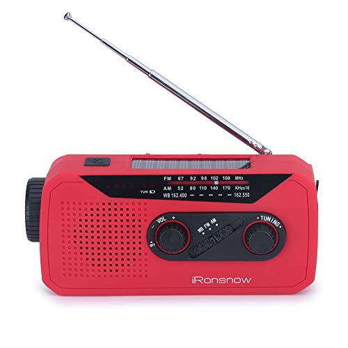 iRonsnow IS-366 Solar Emergency NOAA Weather Radio Hand Crank Windup WB/AM/FM Radios with Earphone Jack & Charge Indicator, 2000mAh Power Bank Phone Charger, Ultra Bright Flashlight for Camping (Red) by iRonsnow (Image #7)