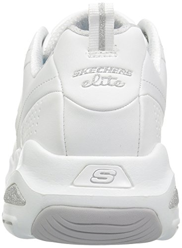 Skechers Donna Dlite Ultra-illusioni Fashion Sneaker Bianco Argento